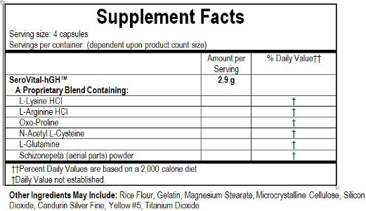 SeroVital-hGH - Ingredients