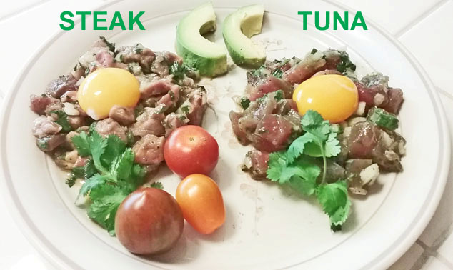simple tartare recipe dishes - steak and tuna